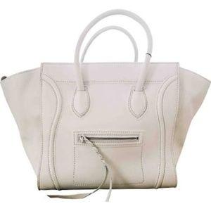 White Celine Luggage Purse Handbag (Size Medium)